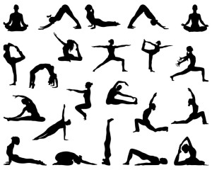 Black silhouettes of girls who practice yoga, vector